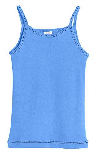 City Threads Little Girls' Cotton Camisole Cami Tank Top T-Shirt Tee Tshirt Spaghetti Straps Summer Play School Sports Sensitive Skin SPD Sensory Sensitive Clothing - Bright Blue - 4 for $<!--$14.95-->