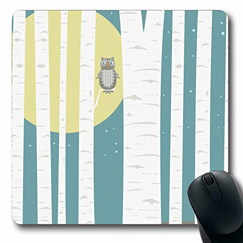 Ahawoso Mousepad for Computer Notebook Full Blue Abstract Moonlit Aspens Tree Nature Gray Night Spooky Woods Birch Bird Oblong Shape 7.9 x 9.5 Inches Non-Slip Gaming Mouse Pad