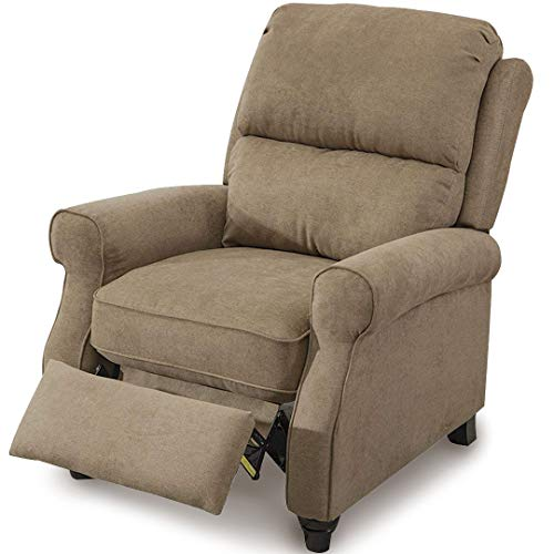 BONZY Pushback Roll Arm and Easy to Push Mechanism Recliner Chair Light Brown