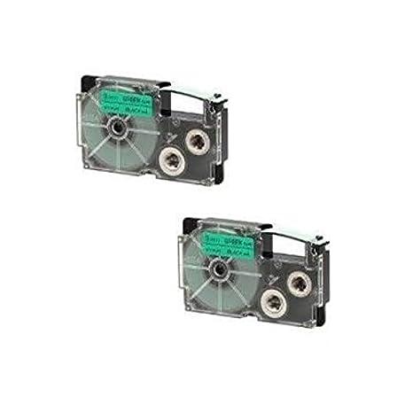 Sostituisce XR-12GN//XR-12GN1 Prestige Cartridge Nastro per Etichette 12mm x 8m 2 Pezzi Nero su Verde