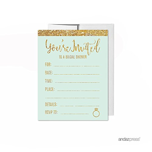 Andaz Press Mint Green Gold Glitter Print Wedding Collection, Blank Bridal Shower Invitations with Envelopes, 20-Pack