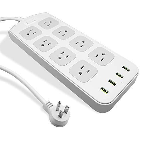 🥇 Power Strip Surge Protector 1875W/15A – 8 AC Outlets 3.1A 4 USB Ports 6 Feet Long Extension Cord