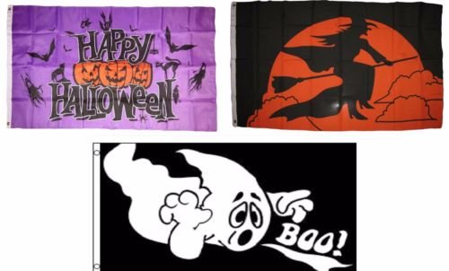 Moon Knives 3x5 Happy Halloween 3 Pack Flag