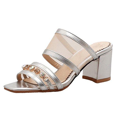 Mee Shoes Women's Fashion Block Heel Mesh Square Toe Sandals Shoes Silvery 2tX5eTq7d