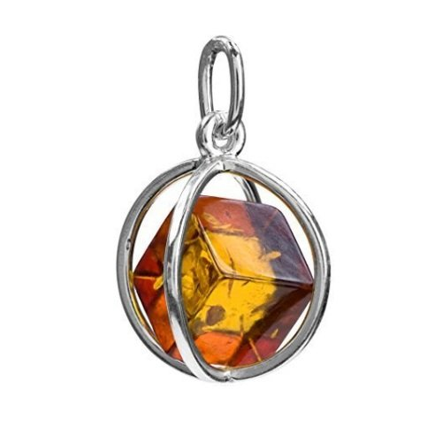 Designer Amber Jewelry (Amber Sterling Silver Millennium Collection Spherical Contemporary Pendant Cube)
