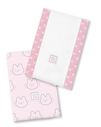 SwaddleDesigns Baby Burpies, Set of 2 Cotton Burp Cloths, Bonjour Bunnie on Pink by SwaddleDesigns
