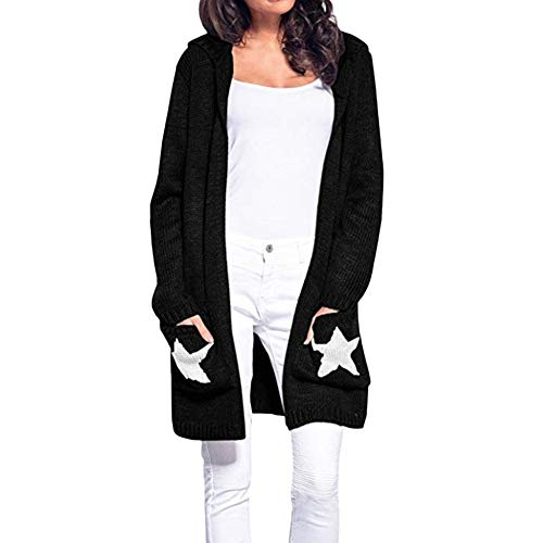 Clearance! Gallity Women's Casual Cardigan Long Sleeve Hooded Star Patchwork Open Front Coat Outwear (XL, Black) ()