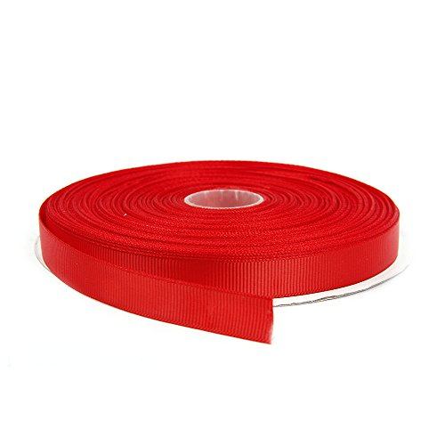 Topenca Supplies 1/2 Inches x 50 Yards Double Face Solid Grosgrain Ribbon Roll, Red