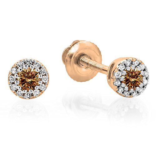 0.20 Carat (ctw) 18K Rose Gold Round Champagne & White Diamond Ladies Cluster Halo Stud Earrings 1/5 CT