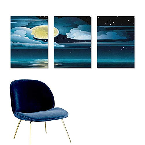 Night Canvas Print Artwork Clouds Full Moon and Stars Over The Sea Romantic Fantasy Graphic Print Modern Decorative Artwork 3 Panels 24x35inch Black Pale Blue -