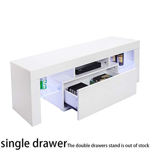 Modern TV Stand – Home TV Cabinet with Clolorful Lights and Storage Drawer, Entertainment Center for up to 60-inch TV…