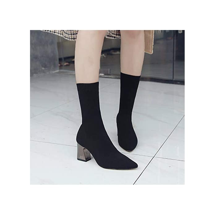 Thick New Ankle Heel Autumn Shoes Boots High Wind Women's Fashion Pointed Martin Socks Hoesczs