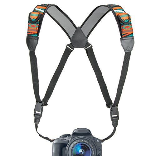 Camera Strap Chest Harness with Southwest Neoprene and Accessory Pockets by USA GEAR – Works with Canon , Nikon , Fujifilm , Sony , Panasonic and More DSLR , Point & Shoot , Mirrorless Cameras