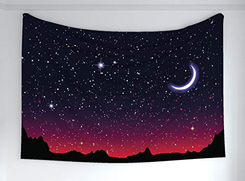 (Ambesonne Night Tapestry, Red Sky at Night Starry Landscape Mountains Astrology Astronomy, Fabric Wall Hanging Decor Bedroom Living Room Dorm, 90 W X 60 L Inches, Indigo Magenta Black)