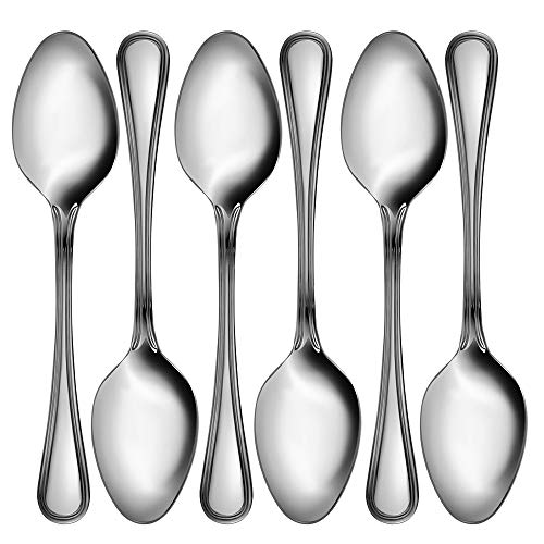 Snamonkia Table Spoons, 6-piece Sterling Quality Stainless Steel Dinner Spoons, 8 inch
