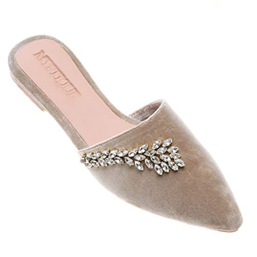 Mystique Alaska Nude Velvet Crystal Mule Flat Sandals (9)