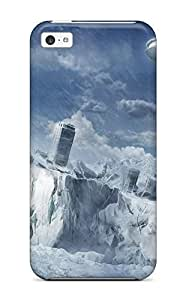 LJF phone case Durable Starship Flying Over City Ruins Back Case/cover For iphone 4/4s