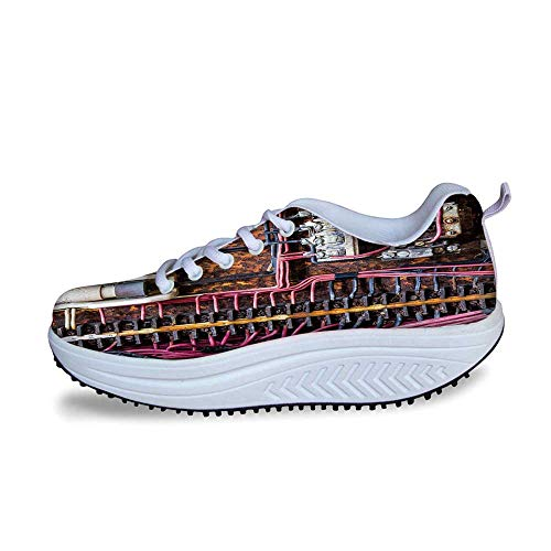 - YOLIYANA Wire Decor Cool Shake Shoes,Old Rusted Electrical Panel with Fuses and Contacts in Abandoned Energy Factory Print for Women,US Size8