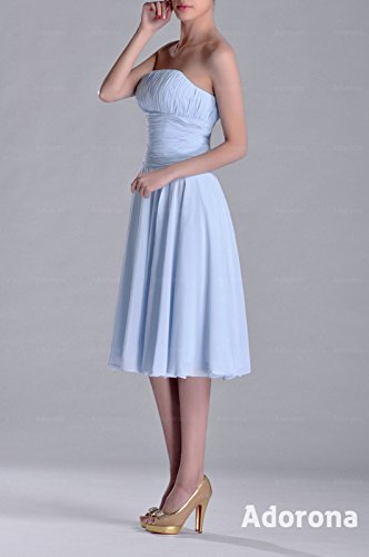 Pleated Bridesmaid Blue Length Dress Knee line Strapless Modest A Prom Adorona Chiffon tPqSzgwtn