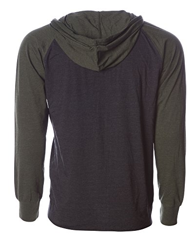 Global Blank Lightweight T-Shirt Material Raglan Zip up Hoodie with Pockets Charcoal/Army M by Global Blank (Image #6)