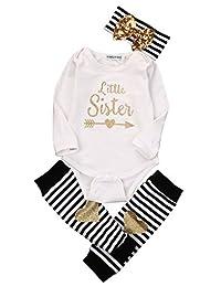3Pcs/Set Newborn Baby Girl Infant Bodysuit Leg Warmer Headband Clothes Outfits