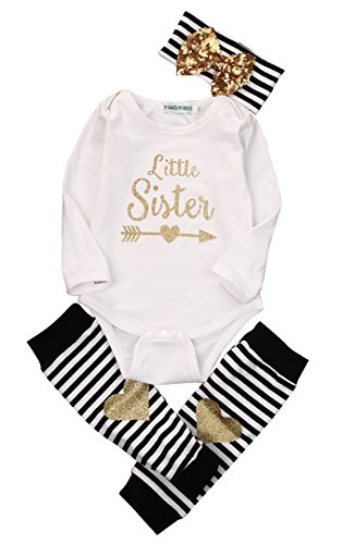 Newborn Baby Boy Girl Romper Tops + Headband+Leg Warmer 3PCS Outfits Set Clothes (0-6 Months), Tag 70, White/ Black/ Gold