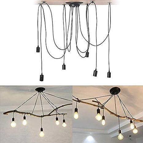 6 Kopf Cocoarm Spinne Kronleuchter DIY Decke Spider Lampe Retro Industry Ceiling Light DYI Vintage Pendelleuchte Speisesaal Schlafzimmer Hotel Dekoration