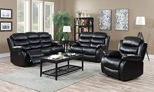 GTU Furniture Motion Reclining Sofa Loveseat Recliner Living Room Pu Leather Pillow Top Backrest and Armrests Couch Set (Sofa, Loveseat and Chair, Black (Style 2))