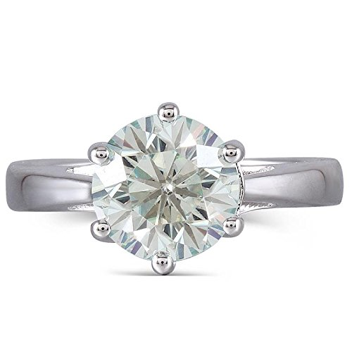 DOVEGGS 2ct 8mm Round Cut 2.6mm Band Width Moissanite Engagement Ring Platinum Plated Sterling Silver (7.5) by DOVEGGS