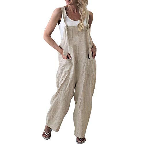 Orangeskycn Ladies Jumpsuits Wide Leg,Strap Front Pants Baggy Culotte Jumpsuit Overalls Khaki