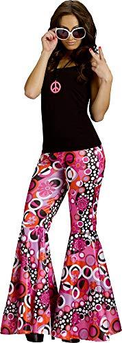 Fun World Women's Power Bell Bottoms Adult Costume, GROOVY PINK M/L medium/large ()