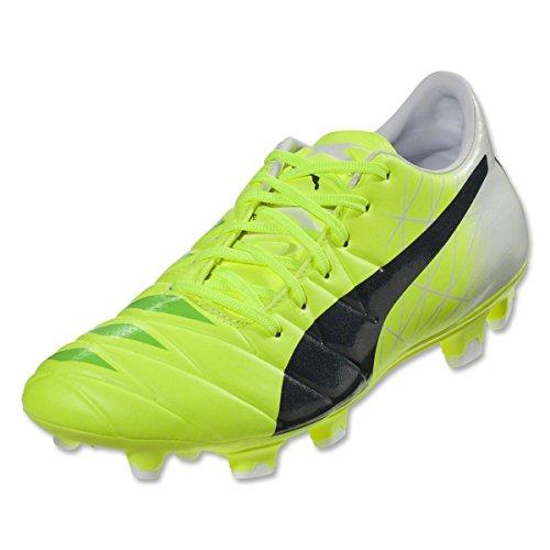 Puma para hombre EvoAccuracy 2Fg suelo firme Zapatillas de fútbol Fluro Yellow, Peacoat, White