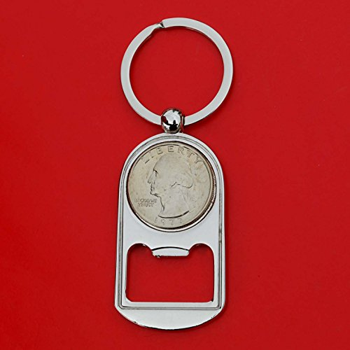 US 1977 Washington Quarter BU Uncirculated Coin Key Chain Ring Bottle Opener NEW (1977 Washington Quarter)