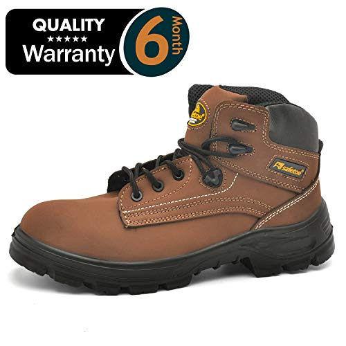 SAFETOE Work Boots for Men Women Steel Toe Boots Waterproof Genuine Leather Work Shoes Slip Resistant for Outdoor Industrial & Construction (Wide Fit) Brown ()