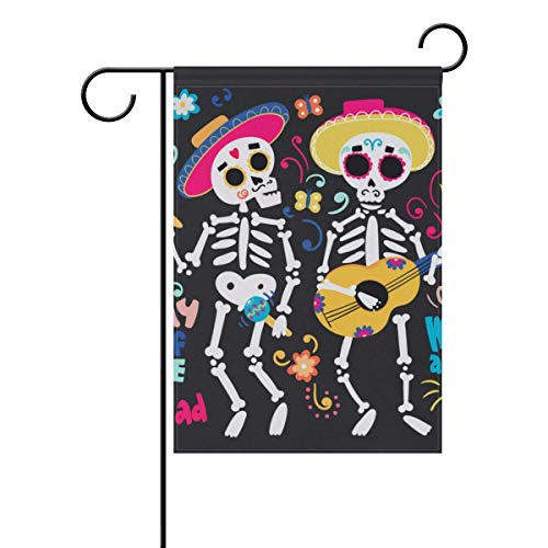 HUVATT Cute Skulls Autumn Fall Halloween Thanksgiving Day Garden House Flag Yard Banner for Outside Flower Pot Double Side Print 12 x 18 -