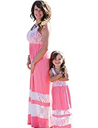 OMZIN Mommy and Daughter Stripe Stitching Dress Casual Long Maxi Beach Dress