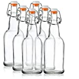 Home Brewing Glass Beer Bottle with Easy Wire Swing Cap & Airtight Rubber Seal - 16oz - Case of 6 - by Tiabo