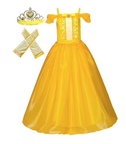 American Vogue Girls Princess Belle Dress up Costume & Accessory Play-Set (9-10 Years, Golden Yellow)