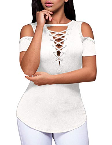 Women's Fashion Ripped Cut Out Clubwear Sexy Lace-Up Party Shirt Stretchy Blouse Top(White,L)