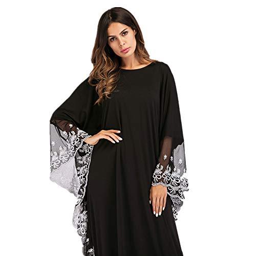 Yhjklm Tamaño Mujer Para Murciélago Musulmán Cómodo De Vestido Bordado Elegante Gran U8qOSrBUw