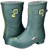 Joules Women's Molly Welly Rain Boot, Green Birds, 7