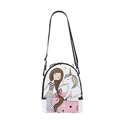 Picnic Stars Shoulder At Lunch Rainbow Adjustable Mermaid For Cooler Cloud Bag Pink Strap Double Unicorn q6zwBaq