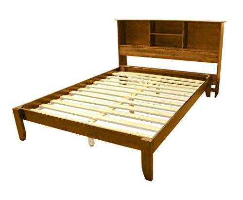 Stockholm Solid Wood Bamboo Platform Bed Frame with Matching Bookcase Headboard, King, Medium - Contemporary Headboard Oak