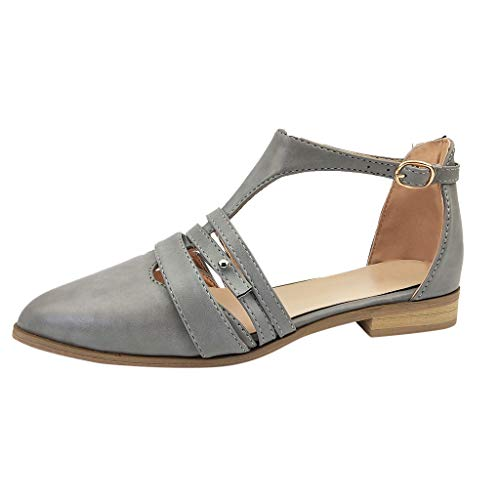 ✔ Hypothesis_X ☎ Women's Heels Closed Pointed Toe D-Orsay Party Sandal Low Heels Bridal Pump Wedding Shoes Gray
