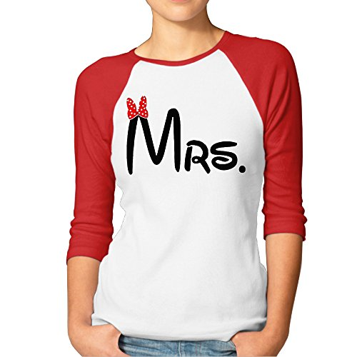 Women's Raglan Mrs Matching Couples Personalized Printed Plain Shirts 3/4 Sleeve (Mrs Potato Shirt)