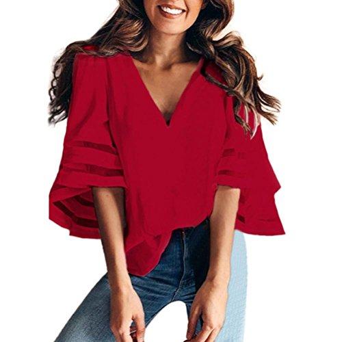 Women O Neck Tops Short Sleeve Sweatshirt Pullover Blouse T Shirt Tee (Red, XL)