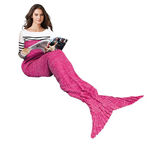 Costume Power Rangers Rose (Handmade Mermaid Tail Blanket Crochet, Ibaby888 All Seasons Warm Knitted Bed Blanket Sofa Quilt Living Room Sleeping Bag for Adults, Classic Pattern, 70.9