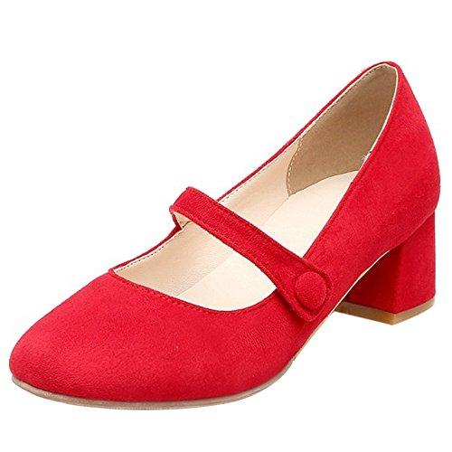 COOLCEPT Women Fashion Middle Block Heel Mary Jane Closed Toe Court Shoes Red xPzOj3O