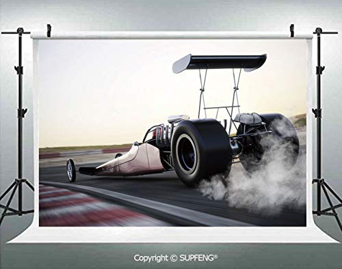 (Background Dragster Racing Down The Track with Burnout Competition Speed Sports Technology Decorative 3D Backdrops for Interior Decoration Photo Studio)