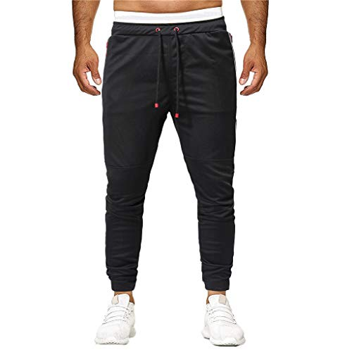 XLnuln Men's Basic Fleece Marled Jogger Pant Sport Joint Patchwork Loose Pocket Sweatpants Drawstring Trousers Pant Black